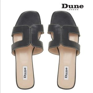 Dune London's Loupe Black Leather Sandals